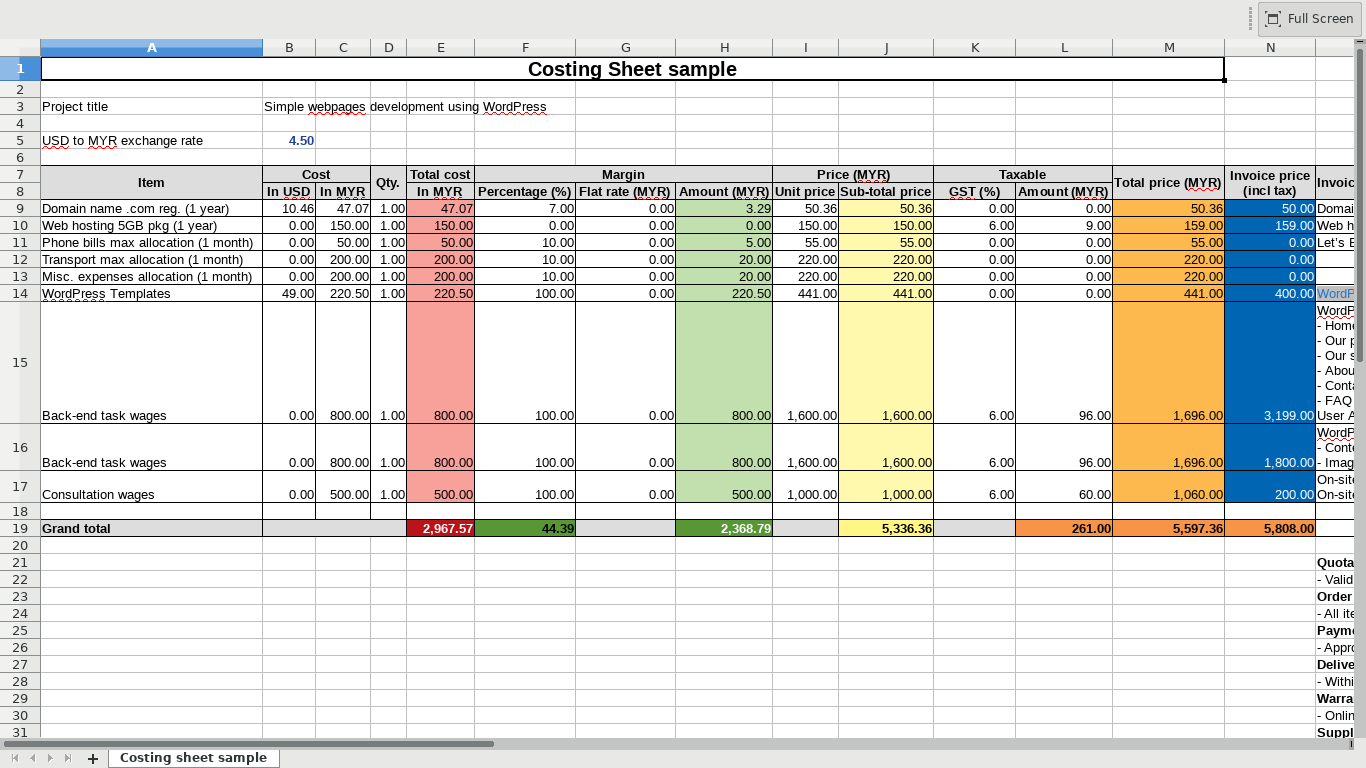 Costing sheet gambar 1