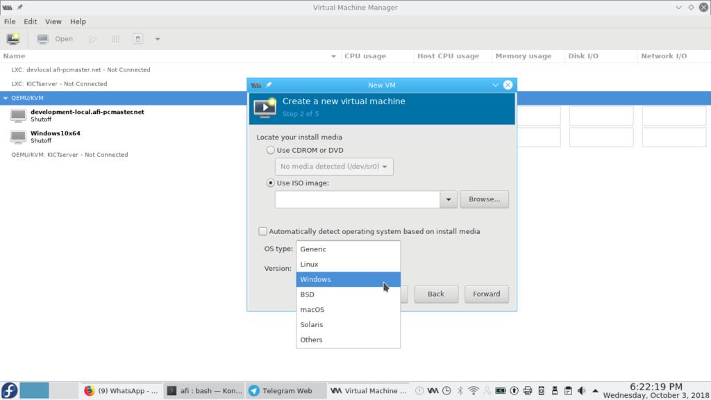Virtual Machine Manager dalam Fedora 28